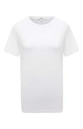 Женская хлопковая футболка AGOLDE белого цвета, арт. A7078 | Фото 1 (Стили: Минимализм; Принт: Без принта; Материал внешний: Хлопок; Женское Кросс-КТ: Футболка-одежда; Рукава: Короткие; Длина (для топов): Стандартные)
