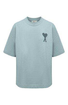Женская хлопковая футболка AMI бирюзового цвета, арт. E21FJ128.726 | Фото 1