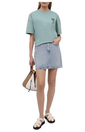 Женская хлопковая футболка AMI бирюзового цвета, арт. E21FJ128.726 | Фото 2