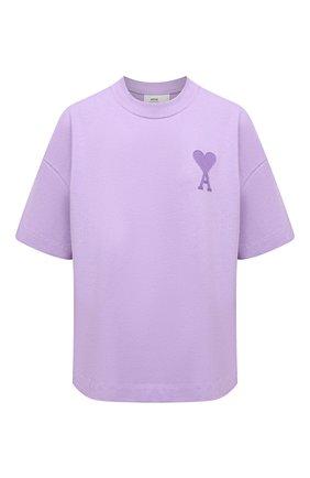 Женская хлопковая футболка AMI сиреневого цвета, арт. E21FJ128.726   Фото 1