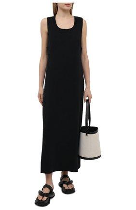 Женское платье из хлопка и шелка MRZ черного цвета, арт. S21-0006 | Фото 2