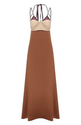 Женское шелковое платье VICTORIA BECKHAM коричневого цвета, арт. 1221WDR002644A | Фото 1