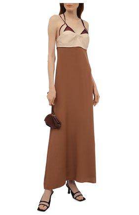 Женское шелковое платье VICTORIA BECKHAM коричневого цвета, арт. 1221WDR002644A | Фото 2