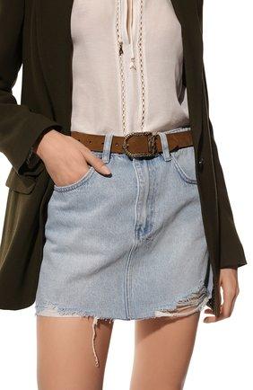 Женский кожаный ремень SAINT LAURENT коричневого цвета, арт. 533721/0JU0W | Фото 2 (Материал: Кожа)