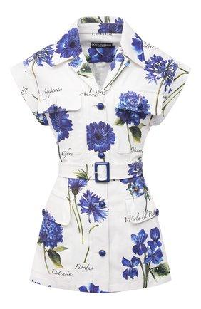 Женский хлопковый жакет DOLCE & GABBANA голубого цвета, арт. I2B87W/GDZAH | Фото 1 (Стили: Романтичный; 1-2-бортные: Однобортные; Случай: Коктейльный; Женское Кросс-КТ: Жакет-одежда; Материал внешний: Хлопок; Длина (для топов): Удлиненные)