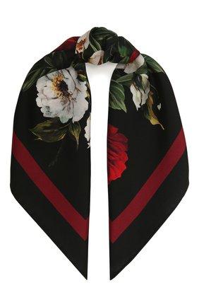 Женский шелковый платок DOLCE & GABBANA черного цвета, арт. FN093R/GDW16 | Фото 1