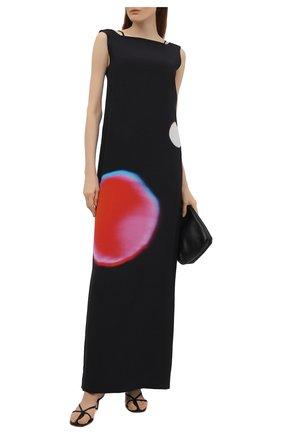 Женское шелковое платье DRIES VAN NOTEN черного цвета, арт. 211-11072-2091   Фото 2