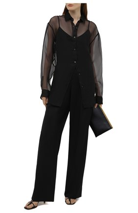 Женская шелковая рубашка DRIES VAN NOTEN черного цвета, арт. 211-10748-2360   Фото 2