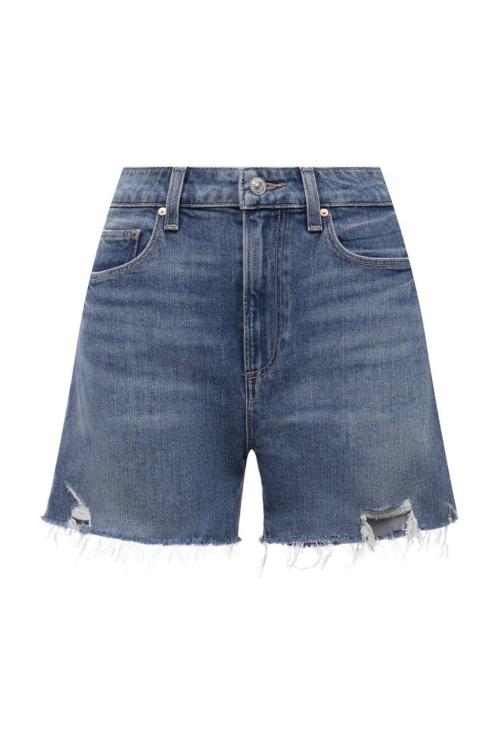 Женские джинсовые шорты PAIGE синего цвета, арт. 6234635-8598 | Фото 1 (Женское Кросс-КТ: Шорты-одежда; Кросс-КТ: Деним; Длина Ж (юбки, платья, шорты): Мини; Материал внешний: Хлопок; Стили: Кэжуэл)