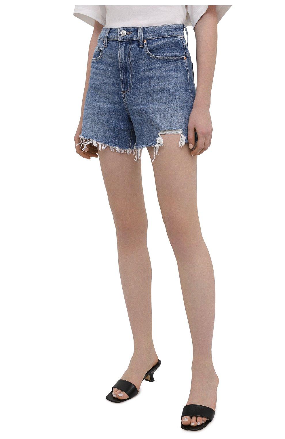 Женские джинсовые шорты PAIGE синего цвета, арт. 6234635-8598 | Фото 3 (Женское Кросс-КТ: Шорты-одежда; Кросс-КТ: Деним; Длина Ж (юбки, платья, шорты): Мини; Материал внешний: Хлопок; Стили: Кэжуэл)