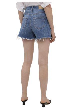 Женские джинсовые шорты PAIGE синего цвета, арт. 6234635-8598 | Фото 4 (Женское Кросс-КТ: Шорты-одежда; Кросс-КТ: Деним; Длина Ж (юбки, платья, шорты): Мини; Материал внешний: Хлопок; Стили: Кэжуэл)