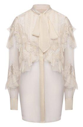 Женская шелковая блузка VALENTINO кремвого цвета, арт. VB0AB2902UP | Фото 1 (Стили: Романтичный; Материал внешний: Шелк; Принт: Без принта; Женское Кросс-КТ: Блуза-одежда; Рукава: Длинные; Длина (для топов): Удлиненные)