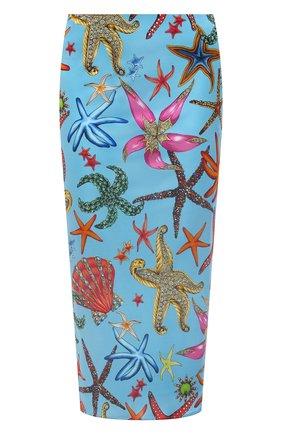 Женская юбка из вискозы VERSACE голубого цвета, арт. A89253/1F01134   Фото 1
