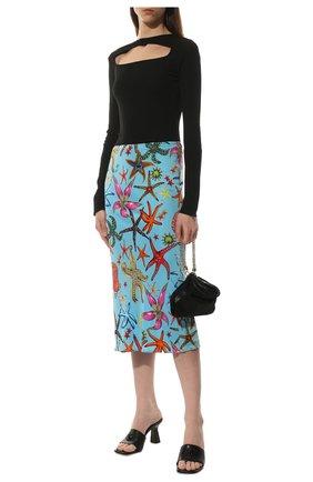 Женская юбка из вискозы VERSACE голубого цвета, арт. A89253/1F01134   Фото 2