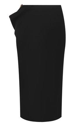 Женская юбка из льна и вискозы VERSACE черного цвета, арт. A89211/1F00720 | Фото 1