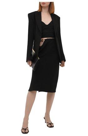 Женская юбка из льна и вискозы VERSACE черного цвета, арт. A89211/1F00720 | Фото 2