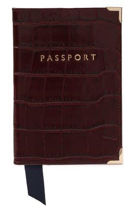 Мужской кожаная обложка для паспорта ASPINAL OF LONDON бордового цвета, арт. 062-0453_18250000 | Фото 1