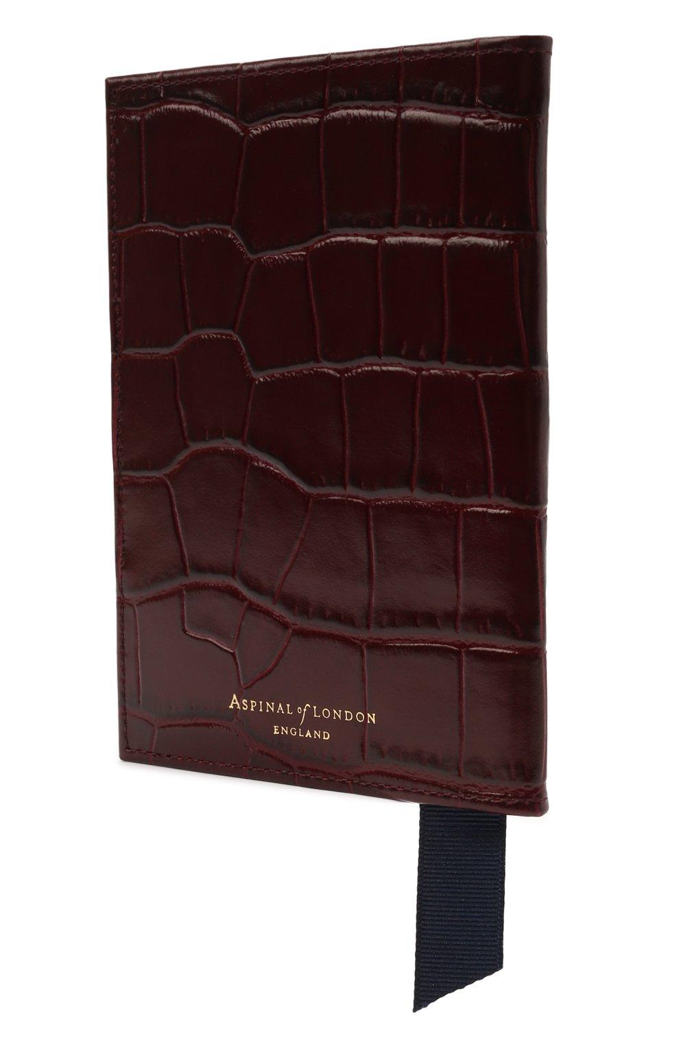 Мужской кожаная обложка для паспорта ASPINAL OF LONDON бордового цвета, арт. 062-0453_18250000 | Фото 2