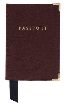 Мужской кожаная обложка для паспорта ASPINAL OF LONDON бордового цвета, арт. 062-0453_16380000 | Фото 1