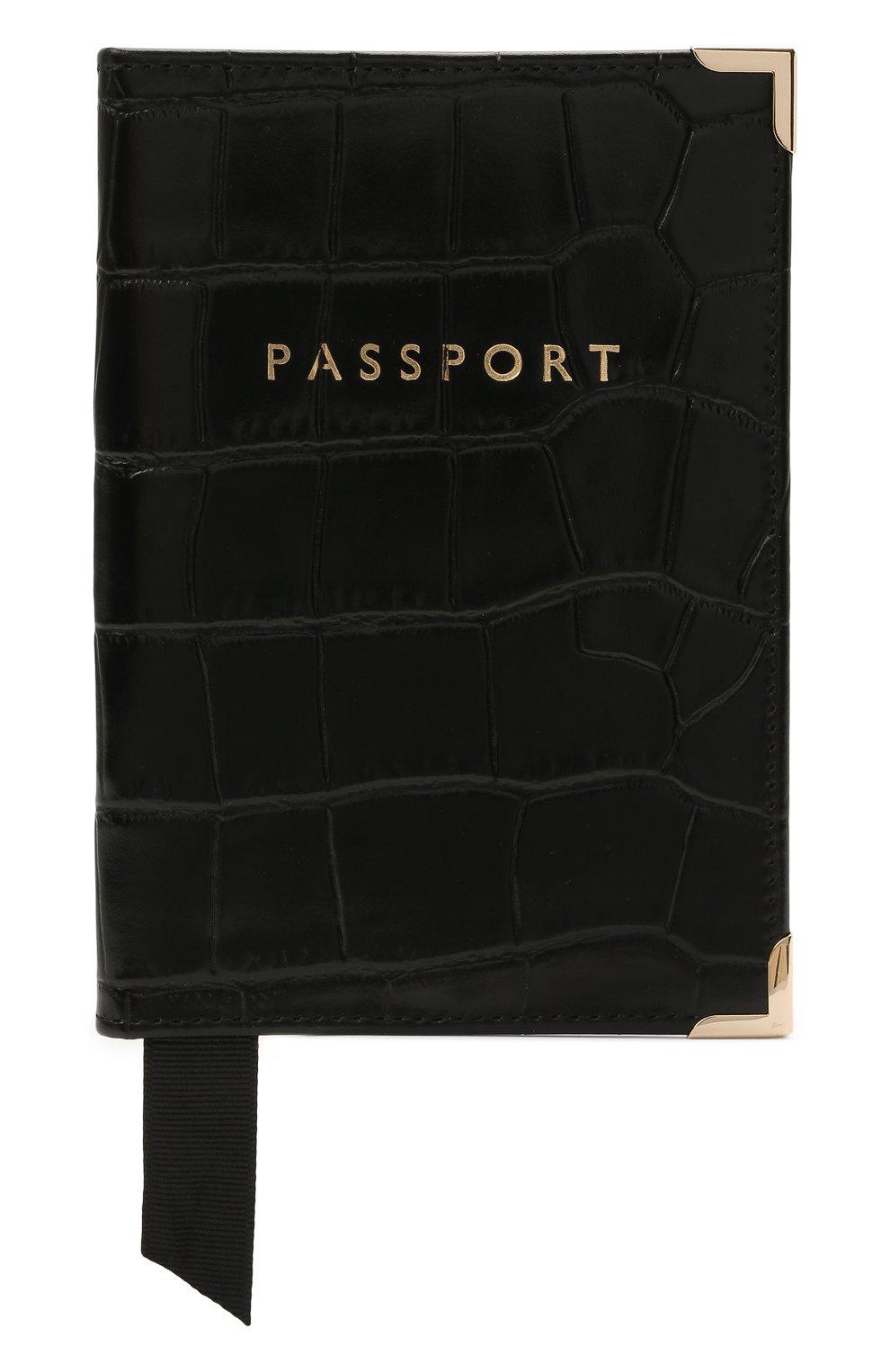 Мужской кожаная обложка для паспорта ASPINAL OF LONDON черного цвета, арт. 062-0453_00170000   Фото 1