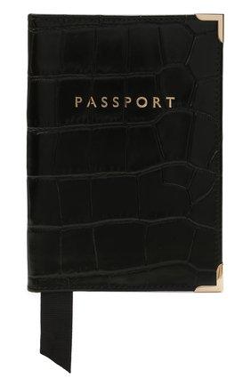 Мужской кожаная обложка для паспорта ASPINAL OF LONDON черного цвета, арт. 062-0453_00170000 | Фото 1