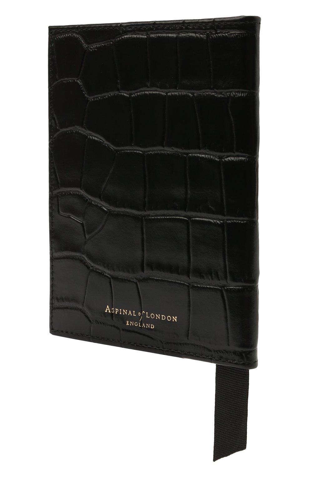 Мужской кожаная обложка для паспорта ASPINAL OF LONDON черного цвета, арт. 062-0453_00170000   Фото 2