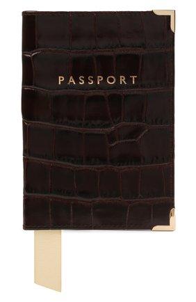Мужской кожаная обложка для паспорта ASPINAL OF LONDON коричневого цвета, арт. 062-0453_00010000 | Фото 1