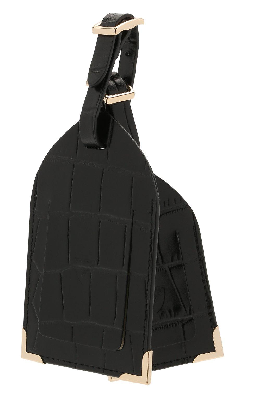 Мужской кожаная багажная бирка ASPINAL OF LONDON черного цвета, арт. 062-0117_00150000 | Фото 2