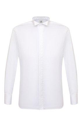 Мужская хлопковая сорочка LUIGI BORRELLI белого цвета, арт. EV28/DIPL0MATIC0/S31030/D0BLE CUFF | Фото 1