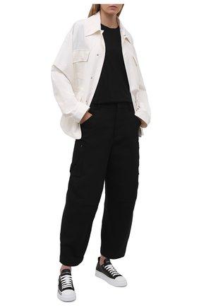 Женские кожаные кеды portofino DOLCE & GABBANA черного цвета, арт. CK1886/A0515 | Фото 2 (Материал внутренний: Натуральная кожа; Подошва: Платформа)