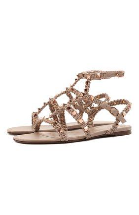 Женские кожаные сандалии rockstud VALENTINO бежевого цвета, арт. VW0S0A05/PZD   Фото 1