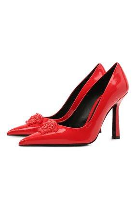 Женские кожаные туфли la medusa VERSACE красного цвета, арт. DST6250/D1VE   Фото 1