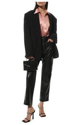 Женские текстильные мюли VERSACE черного цвета, арт. DST6530/DRA67 | Фото 2 (Материал внешний: Текстиль; Материал внутренний: Натуральная кожа; Каблук высота: Высокий; Подошва: Плоская; Каблук тип: Шпилька)