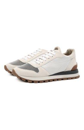 Женские комбинированные кроссовки BRUNELLO CUCINELLI белого цвета, арт. MZSFG1960P | Фото 1 (Материал внутренний: Текстиль; Материал внешний: Текстиль; Подошва: Платформа)