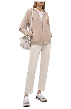 Женские комбинированные кроссовки BRUNELLO CUCINELLI белого цвета, арт. MZSFG1960P | Фото 2 (Материал внутренний: Текстиль; Материал внешний: Текстиль; Подошва: Платформа)