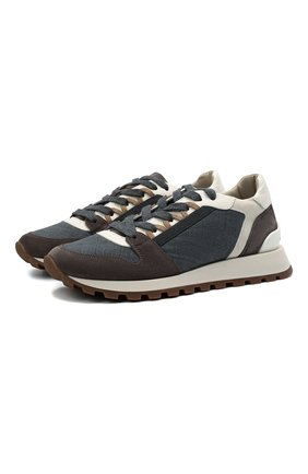 Женские комбинированные кроссовки BRUNELLO CUCINELLI темно-серого цвета, арт. MZSFG2004P | Фото 1 (Подошва: Платформа; Материал внутренний: Текстиль)