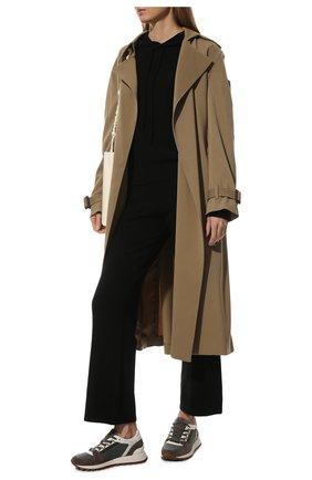 Женские комбинированные кроссовки BRUNELLO CUCINELLI темно-серого цвета, арт. MZSFG2004P | Фото 2 (Подошва: Платформа; Материал внутренний: Текстиль)