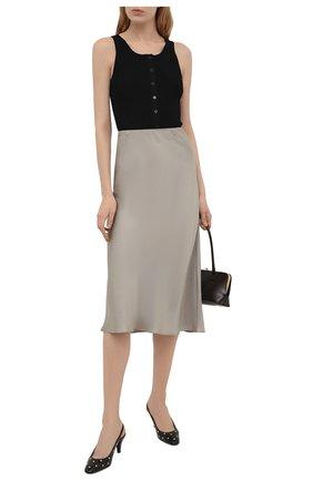 Женские кожаные туфли carole SAINT LAURENT черного цвета, арт. 658168/2V7KK | Фото 2 (Каблук высота: Средний; Материал внутренний: Натуральная кожа; Подошва: Плоская; Каблук тип: Шпилька)