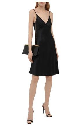 Женские кожаные босоножки amber SAINT LAURENT черного цвета, арт. 658933/2Y900 | Фото 2 (Материал внутренний: Натуральная кожа; Каблук тип: Шпилька; Подошва: Плоская; Каблук высота: Высокий)