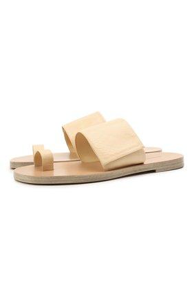 Женские кожаные шлепанцы JIL SANDER бежевого цвета, арт. JS36135A-13045 | Фото 1 (Каблук высота: Низкий; Подошва: Плоская; Материал внутренний: Натуральная кожа)