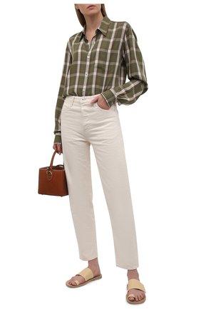 Женские кожаные шлепанцы JIL SANDER бежевого цвета, арт. JS36135A-13045 | Фото 2 (Каблук высота: Низкий; Подошва: Плоская; Материал внутренний: Натуральная кожа)