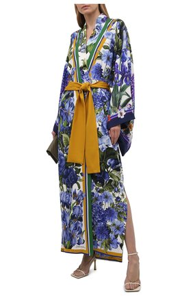Женское шелковое платье DOLCE & GABBANA синего цвета, арт. I0B17W/GDW99   Фото 2 (Рукава: Длинные; Случай: Коктейльный; Материал внешний: Шелк; Женское Кросс-КТ: Платье-одежда; Стили: Романтичный)