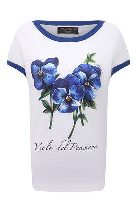 Женская хлопковая футболка DOLCE & GABBANA голубого цвета, арт. I8AAGW/HI7MD | Фото 1