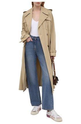 Женские кожаные кеды custom 2.zero DOLCE & GABBANA розового цвета, арт. CK1863/A0541 | Фото 2 (Подошва: Платформа; Материал внутренний: Натуральная кожа)