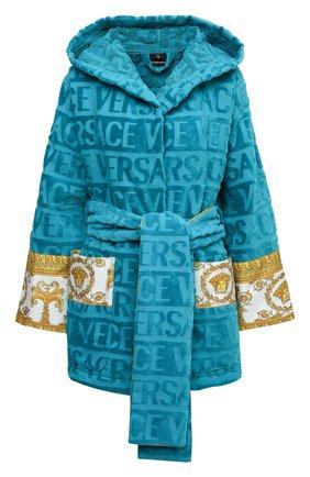 Женский хлопковый халат VERSACE голубого цвета, арт. ZACJ00019/ZC0SP052 | Фото 1