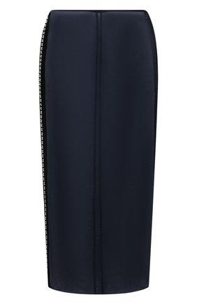 Женская шелковая юбка JIL SANDER темно-синего цвета, арт. JSWS356480-WS282500 | Фото 1 (Стили: Гламурный; Женское Кросс-КТ: Юбка-одежда; Материал внешний: Шелк; Длина Ж (юбки, платья, шорты): Миди)