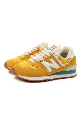 Детские кроссовки 574 vintage brights NEW BALANCE желтого цвета, арт. ML574HB2/D | Фото 1 (Стили: Спорт)