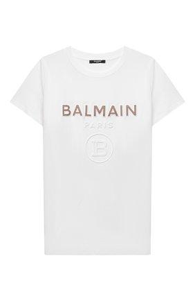 Детская хлопковая футболка BALMAIN белого цвета, арт. 6O8521   Фото 1