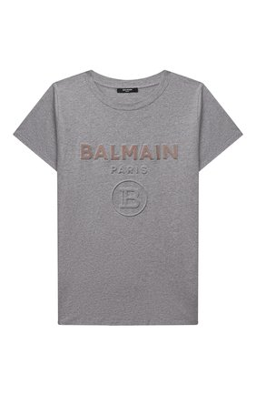 Детская хлопковая футболка BALMAIN серого цвета, арт. 6O8521   Фото 1
