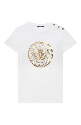 Детская хлопковая футболка BALMAIN белого цвета, арт. 6O8011 | Фото 1